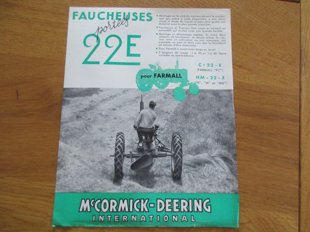 FEUILLET FAUCHEUSES 22 E PORTEES MC CORMICK DEERING 1950 MACHINE AGRICOLE